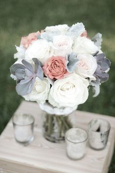 really like the grey and white with the pop of blush. could also do a pop of pale yellow or deep navy.