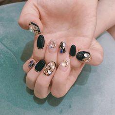 Korean Nail Art, Korean Nails, Pastel Nails, Yellow Nails, Red Nail, Cute Nails, Pretty Nails, Asian Nails, Kawaii Nails