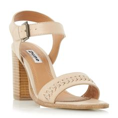 Dune Ida weave detail block heel sandals, Stone