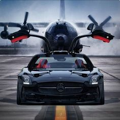 Awesome Mercedes 2017: Ready to fly with wings up. Mercedes Benz SLS AMG...  Random good sh*t
