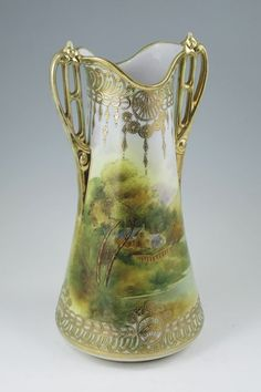 nippon vase | 143: SCENIC HAND PAINTED NIPPON VASE : Lot 143