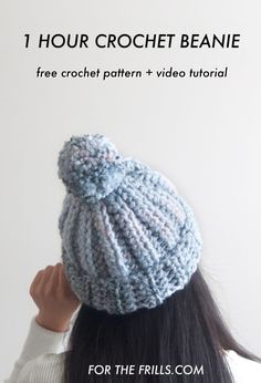 Learn how to crochet a beanie in one hour! This chunky beanie is a great project for beginners and to gift during the Christmas season. This free crochet beanie pattern also has a video tutorial and comes in child, teen and adult sizes. Chunky Crochet Hat, Quick Crochet, Crochet Wool, Free Crochet, Crochet Hats, Crochet Winter, Knitting Hats, Chunky Wool, Crochet Pillow