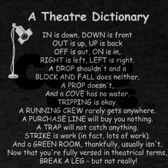 Theater Dictionary - about as confusing as math after all, huh?