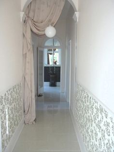 Cool Decorating a Hallway Design Ideas: Decorate Long Hallway With Wall Art And Curtain