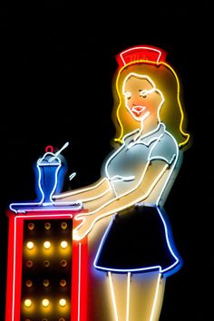 "neon.Reminds me of my car hop days at the A&W in Babbitt,MN.        My 1st ""Real"" job. My favorite."