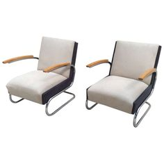 Awesome Pair of Bauhaus Cantilever Chairs | From a unique collection of antique and modern armchairs at https://www.1stdibs.com/furniture/seating/armchairs/