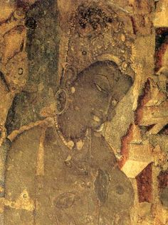 Ajanta Cave paintings| This painting and others can be found in the Ajanta Cave in India (DB)