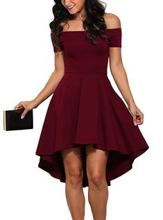 Sidefeel Women Off Shoulder Sleeve High Low Skater Dress Small Wine Red at Amazon Women's Clothing store: