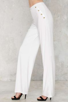 Nasty Gal Flown In Wide-Leg Pants - White - Pants