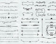 36 von hand gezeichneten floralen Ornamenten und Text Teiler | SVG schneiden Dateien | 300 PPI