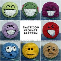 Emoticon Free Amigurumi Pattern http://janey-in-a-bottle.deviantart.com/art/Emoticon-Crochet-Pattern-153288368