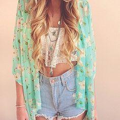 kimono + crop top + jean shorts