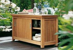 Sideboard - Designer Other outdoor products by Garpa ✓ Comprehensive product & design information ✓ Catalogs ➜ Get inspired now Backyard Kitchen, Outdoor Kitchen Design, Outdoor Pool Furniture, Outdoor Decor, Deck Storage, Outdoor Storage, Towel Storage, Outdoor Buffet Tables, Outdoor Sheds