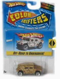 Hot Wheels Color Shifters Humvee Car by Mattel. $18.88. Transform each Hot Wheels Color Shifters vehicle with warm or icy cold water.. Two cars in one equals double the fun!. Hotwheels Color Shifters Feature five themes for great imaginative play - flames, racing, city, cameo, and color-to-color.