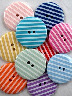 Buttons 10 BIG Cherry Red Stripe, via Etsy.