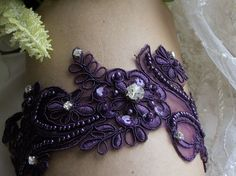 The prettiest purple garter you are going to find, I promise! No ugly eighties white garter with a purple flower.
