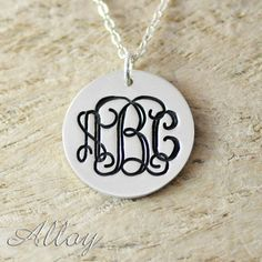 """This gorgeous monogram necklace is a lovely way to honor the special people in your life or a gorgeous way to have a personalized piece with your initials.   Available chains measure 16"""", 18"""", 20"""" or 22"""". Select your desired chain measurement below.   Please enter your desired three initials ..."""