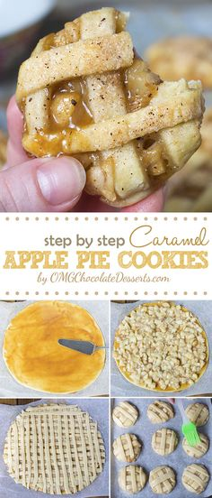 Pie Cookies Apple Pie Cookies - sticky and chewy, bite sized caramel apple pies.Apple Pie Cookies - sticky and chewy, bite sized caramel apple pies. Caramel Apple Pie Cookies, Apple Pie Cookie Recipe, Cookie Pie, Apple Pie Recipes, Apple Desserts, Easy Cookie Recipes, Chocolate Desserts, Caramel Apples, Baking Recipes