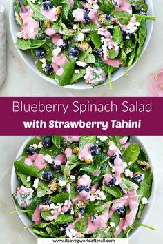 Celebrate Independence Day with this festive spinach salad, featuring fresh blueberries, goat cheese, and a pink strawberry dressing. It's easy to make, vegetarian, and gluten free. #4thofjuly #redwhiteandblue