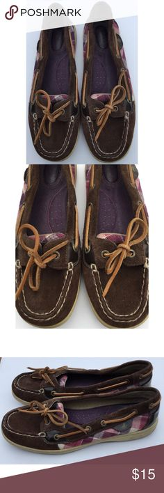 Sperry Top-Sider Brown Purple Plaid Suede Shoes 8 Sperry Top-Sider Brown Purple Plaid Suede Shoes, 8 M.   Some wear, nothing major. Nice overall condition and smoke free home. Thanks! Sperry Top-Sider Shoes Flats & Loafers