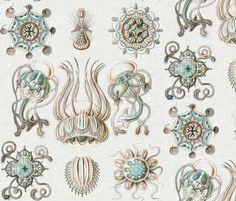 Sea Creatures on Linen fabric by sparrowsong on Spoonflower - custom fabric