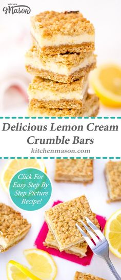 These Lemon Cream Crumble Bars are insanely delicious! Very simple to make, I guarantee friends & family will be begging you for the recipe. Bake Sale Recipes, Tray Bake Recipes, Baking Recipes, Cake Recipes, Eggless Recipes, Lemon Dessert Recipes, Easy Desserts, Drink Recipes, Condensed Milk Desserts
