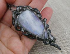 moonstone necklace gemstone necklace fantasy by Blacksmithworkshop