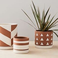 Make a home for your succulents and air plants in our hand-glazed earthenware Rio Cache Pots. Finished with white geometric patterns that pop against a natural backdrop, these pots are simple yet still catch the eye both indoors and out. Painted Plant Pots, Painted Flower Pots, Painted Pebbles, Decorated Flower Pots, Hand Painted, Indoor Planters, Ceramic Planters, Indoor Outdoor, Hanging Planters