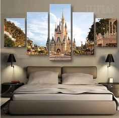 Disney In Day Time - 5 Piece Canvas Painting