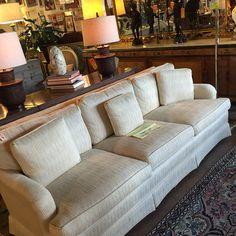 Vintage upholstered white sofa