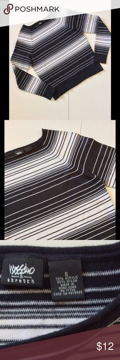"""🍀3 for $18🍀 Black & White Striped Sweater Lightweight sweater. Rolled neckline, ribbed sleeves, fully fashioned shoulders. Excellent pre-loved condition. 34"""" bust, unstretched. Length from shoulder 21""""  🎀Bundle discount  ⭐️5 star rated Suggested User 🚭Smoke free home 🚫No trades please  😍 Thank you for shopping with me. Please ask all questions before purchase Mossimo Sweaters Crew & Scoop Necks"""