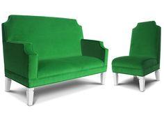 Kid-sized furniture in a beautiful emerald green velvet!