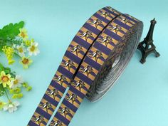 "1"" Gold Viking Grosgrain Printed Ribbon 10 yards Free Shipping for HairBow & DIY #AVA"
