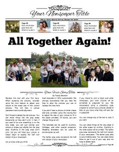 """This can be used for reunions, birthdays, and other special occasions. Try this 11""""x14"""" newspaper template now using our Free Cloud Designer: www.makemynewspaper.com/free-newspaper-templates"""