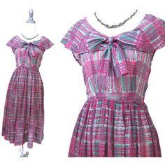 Graphic Print Shirt Dress Xs Vintage 60s 50s Pink White Green Shirtdress Day Dress