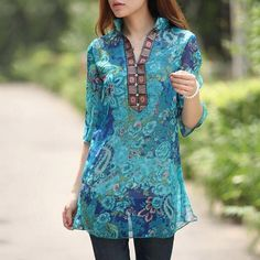Women Sexy Floral Chiffon Blusas 2017 Vintage Embroidery V neck 3/4 Sleeve Casual Blouse Tops Loose Long Shirt Dress Plus Size