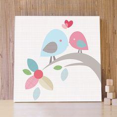 Nursery Art, Decor for Baby Nursery, Kids and Children Rooms. 20x20 Two Birds in Love