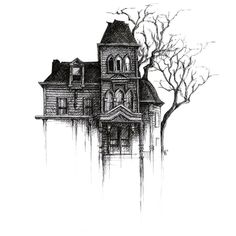 "642 Likes, 22 Comments - Maria Steffens (@palestblue) on Instagram: ""Do you think these would make nice square shaped postcards?  . #hauntedhouse #drawing #blackink…"""