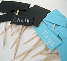Chalkboard Tag Cupcake picks or toppers in black or light blue, Set of 12 by Kiwi Tini Creations