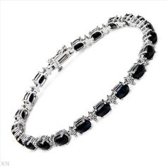 $619.00  Superb Brand New Bracelet With 12.30ctw Precious Stones - Genuine  Clean Diamonds and Sapphires Made of White Gold. Total item weight 10.0g  Length 7.5in - Certificate Available.