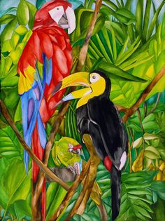 Birds in Paradise :: Ruth Daniels :: Artist Gallery :: Watercolor and Ink Prints Tropical Art, Tropical Birds, Exotic Birds, Tropical Forest, Rainforest Project, Parrot Painting, Animal Cushions, Forest Plants, Rainforest Animals