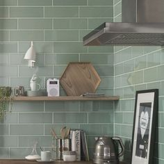 Here are the top 5 kitchen backsplash tile ideas for your home including herringbone kitchen tiles, hexagonal, metallic and geometric kitchen tiles Metro Tiles Kitchen, Green Kitchen Walls, Kitchen Wall Tiles, Kitchen Flooring, Kitchen Backsplash, Green Tile Backsplash, Green Subway Tile, Green Tiles, Pistachio Green