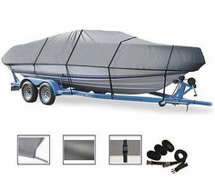 BOAT COVER FITS 14' - 16' V-HULL or TRI-HULL or ALUMINUM BASS BOAT 90 BEAM