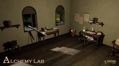 Alchemy Lab contains high quality PBR prefabs suitable for medieval or fantasy alchemy lab, study room, or a natural scientists's chamber. Prefab, Alchemy, Scientists, Unity, Lab, Medieval, Study, Fantasy, Halloween