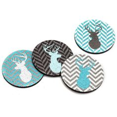 A perfect brightly designed touch to your tabletop, this set of 4 coasters features deer silhouettes on top of a blue and gray chevron background. This unique set of 4 coasters is made from 100% recycled rubber and won't slip or scratch your surfaces. Made in the USA.
