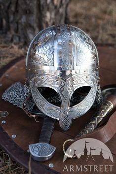 Exclusive Viking's Valsgaarde Stainless Steel Helm :: by medieval store ArmStreet Viking Armor, Viking Helmet, Arm Armor, Medieval Armor, Medieval Fantasy, Viking Sword, Armadura Medieval, Armadura Viking, Combat Helmet