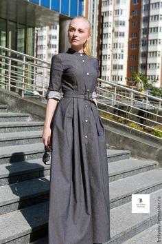 Купить Платье в пол/платье длинное/платье джинсовое - серый, платье, платье летнее, платье легкое