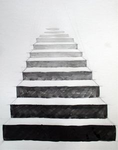 This perspective makes the stairs look like they are getting farther away the higher they get. 3d Art Drawing, Pencil Art Drawings, Art Drawings Sketches, Easy Drawings, Painting & Drawing, Perspective Drawing Lessons, Perspective Sketch, Principles Of Art, School Art Projects