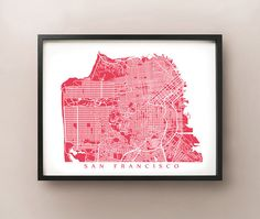 San Francisco map art print. Features the intriguing streets of San Francisco, California.    Choose between 70 different colours! View additional
