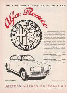 "1959-60 Alfa Romeo ad - ""Italians build such exciting cars"" - vintage newsprint"
